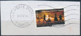 France - Fête Du Timbre 2012 - Le Feu (Feu De La St-Jean) YT A756 Obl. Ondulations Et Dateur Rond Sur Fragment - Adhésifs (autocollants)