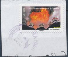France - Fête Du Timbre 2012 - Le Feu (les Pompiers) YT A757 Obl. Cachet Rond Manuel Sur Fragment - Adhésifs (autocollants)
