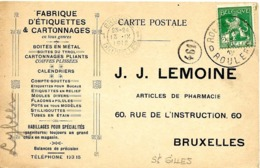 """LE 0298. N° 110 ROESELARE/ROULERS 13.IX.12 S/CP """"J.J.LEMOINE - Etiquettes & Cartonnages"""" Vers Anderlecht. TB - 1912 Pellens"""