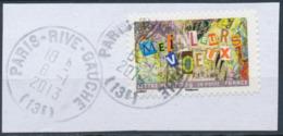 France - Meilleurs Voeux 2012 - YT A765 Obl. Cachet Rond Manuel Sur Fragment - Adhésifs (autocollants)