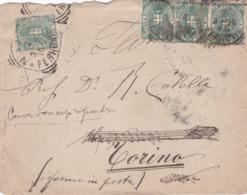 BUSTA VIAGGIATA  - REGNO - NAPOLI - VIAGGIATA PER TORINO - 1878-00 Umberto I