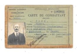 11274- Carte Du Combattant , Comité Départemental Du CANTAL, Juillet 1928 - Documents