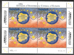 Andorre 2019 - Entrée D'Andorre Au Conseil De L'Europe ** (bloc De 4) - French Andorra