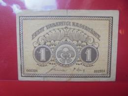 ESTONIE 1 MARK 1919 CIRCULER (B.9) - Estland