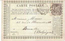 Carte Précurseur Privée Pour La Belgique Société D'acclimatation Paris 13 Juillet 1877 - Ganzsachen