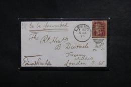 ROYAUME UNI - Enveloppe  De Leeds Pour Londres En 1875 , Affranchissement Victoria - L 46726 - Marcophilie