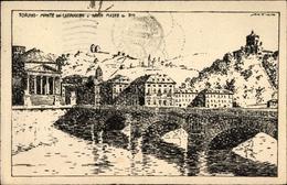 Artiste Cp Torino Turin Piemonte, Monte Dei Cappuccini, Brücke, Häuser - Italia