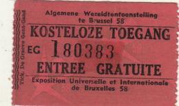 3 Tickets Entrée Exposition Bruxelles 1958 EXPO 58 - Documents Historiques