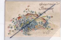 Souvenir De Possesse (51) Carte Fantaisie, Fleurs Avec Ajouts Brillants (carte Précurseur De 1905) - Unclassified