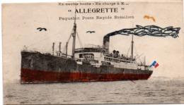 Paquebot Poste Rapide Brésilien ALLEGRETTE - Ex-navire Boche (!) - Carte Coupée (format Réduit) Et Colriée - Paquebots