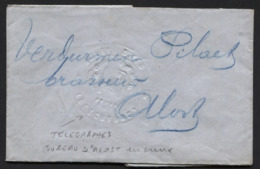 Télégramme Cachet En Relief + Càd Télégraphique Bleu ALOST 1879 - Brasserie Pilaet - Telegraph