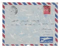 Cachet  DIEGO SUAREZ    Sur  Enveloppe PAR AVION Vers La France- TIMBRE F.M. Rouge  Voir Scan - Madagascar (1889-1960)
