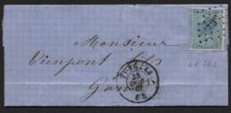 N°17 Obl. LP 362 S/lettre Brief TONGRES Vers Gand 1867 - 1865-1866 Profile Left