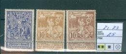71-73 Xx  COB 25€ - 1893-1907 Coat Of Arms