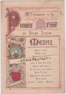 MENU-PREMIERE MESSE-TONGEREN-JOSEPH ARCKENS-26.09.1898-MISSIONARIS-SCHEUT-CHINA-DIMENSIONS+-13-19CM-VOYEZ 2 SCAN-TOPRARE - Menus