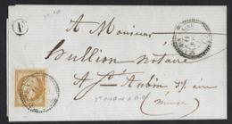 Cachet Perlé Type 22 St AUBIN-S-AIRE (Meuse)  1860,Aff 10c N° 13B Annulé Par Le Cachet à Date,i=10 (60€) - Marcophilie (Lettres)