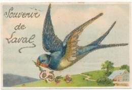LAVAL - Hirondelle, Souvenir De... Carte Agrémentée De Paillettes Argentées - Laval