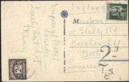 CP France Pour Grande Bertagne YT 280 FR CAD 1936 Taxe GB Tampon 2D I.S.C. Timbre Taxe 2d 2 Pences Postage Due - Strafportzegels