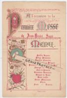 MENU-COLOREE-PREMIERE MESSE-TONGEREN-JEAN-DESIRE-SACRE-26.04.1897-DIMENSIONS+-13-19CM-VOYEZ 2 SCANS-A ETEE PLIEE! !-RARE - Menus