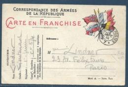 Bureaux De Payeurs : Tàd Trésor Et Postes 7 Le 2.9.1914 - QG Du 5e Corps D'armée / CP FM 6 Drapeaux Modèle A (expédiée D - Marcophilie (Lettres)