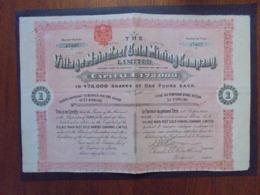 ANGLETERRE, LONDRES 1909 - THE VILLAGE MAIN REEF GOLD MINING - TITRE DE 1 ACTION DE 1 £ - PAS DE COUPON - Azioni & Titoli