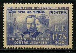COTE FRANCAISE DES SOMALIS - YT 147 * - PIERRE & MARIE CURIE - TIMBRE NEUF * - Nuovi