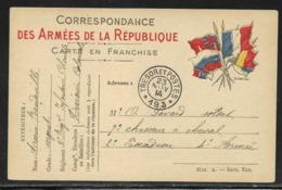 Bureaux De Payeurs : Tàd Trésor Et Postes 193 Le 23.11.1914 - 91e Division D'Infanterie Territoriale / CP FM 6 Drapeaux - Marcophilie (Lettres)