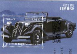 Citroen Traction Decapotable  -  France 2019 Fete Du Timbre 1v Miniature Sheet  -  Obliteré Sur Papier - Voitures
