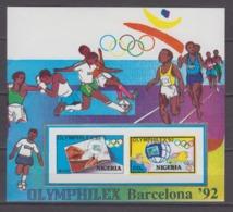 Nigeria 03.07.1992 IMPERF Mi # Bl14Barcelona Summer Olympics,OLYMPHILEX'92MNH OG - Verano 1992: Barcelona