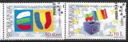 2006 Rumänien Romania  Mi. 6149-50x  Used  Beitritt Rumäniens Und Bulgariens Zur Europäischen Union - Europäischer Gedanke