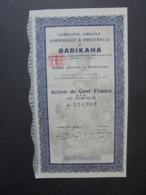 AFRIQUE,COTE D'IVOIRE, BADIKAHA 1927 - CIE AGRICOLE COMMERCIALE ET INDUSTRIELLE - TITRE DE 1 ACTION DE 100 FRS CFA, DECO - Shareholdings