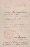 La Commune 1871 Paris. Autorisation Du Ministère Agriculture. Cachets: Rouge Commune Et Police Du Chemin De Fer Du Nord. - Documents Historiques