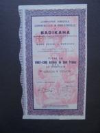AFRIQUE,COTE D'IVOIRE, BADIKAHA 1927 - CIE AGRICOLE COMMERCIALE ET INDUSTRIELLE - TITRE  25 ACTIONS DE 100 FRS CFA, DECO - Shareholdings