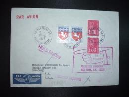 LETTRE Pour USA TP M. DE BEQUET 1,00 Paire + ST LO 0,20 Paire OBL.20-6 1977 92 NANTERRE GA 1 + RETOUR + REEXPEDITION - Storia Postale