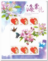 China 2018, Postfris MNH, 2018-6, Chinese Flowering Crabapple, Butterflies - Ongebruikt