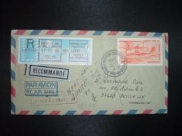 LR Pour REUNION TP CAMS 53 20,00 OBL.11-12 1986 PARIS 15 ANN.4 (ANNXE) + VIGNETTE G1 à 0000,70 + OBL. 974 PETITE ILE - Storia Postale