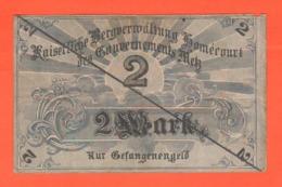 Metz Francia 2 Mark Marchi Occupazione Tedesca War Currency 1914 / 18 Prisoner Der Gefangenengeld - [ 2] 1871-1918 : Impero Tedesco
