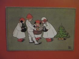 Cpa NOEL_illustrateur Pauli EBNER_Avec 4 Enfants Autour De La Hotte De Jouets & Sapin De Noel - Ebner, Pauli