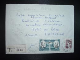 LR TP DAURAT VANIER 5,00 + SABINE 3,00 OBL.14-4 1980 83 TOULON RP AN. MOB. 1 VAR (ANNEXE MOBILE) - Storia Postale