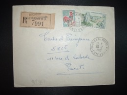 LR TP CARNAC 1,00 + COQ 0,30 OBL.29-7 1966 DIJON RP AN. MOBILE N°1 COTE D'OR (21 ANNEXE MOBILE) - Postmark Collection (Covers)