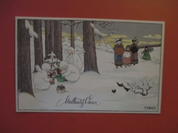 Cpa MEILLEURS VOEUX_illustrateur Pauli EBNER_enfants En ANGE Blanc De Noel Au Pied Des Sapins De NOEL - Ebner, Pauli