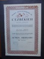 SOCIETE BELGE-EGYPTIENNE DE L'EZBEKIEH - ACTION ORDINAIRE - BRUXELLES 1939 - BELLE VIGNETTE - Shareholdings