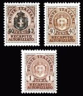 REGNO Luogotenenza 1945 1946 Recapito Autorizzato 3v.  MNH ** Integri - 5. 1944-46 Lieutenance & Umberto II