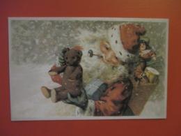 Cpa De NOEL_LE PERE NOEL Avec Sa Pipe Et De Nombreux Cadeaux Ours En Paille, Poupée Tambour Hotte - Noël
