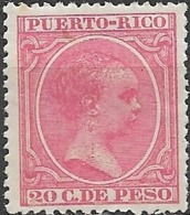 "PUERTO RICO 1890 ""Baby"" - 1m - Blue MH - Puerto Rico"