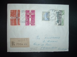 LR TP AVION 0,20 + 0,15 + RENNES 0,30 + SEMEUSE 0,30 OBL.3-7 1962 CHARGEMENTS NICE RP (06 ALPES MARITIMES) - Storia Postale