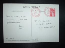 CP Roger ADDA Dessin Robert DESPEYROUX TP SABINE 1,40 ROUGE OBL. HEXAGONALE ROUGE 26-1 1981 2 BOIS COLOMBES A (ANNEXE) - Marcophilie (Lettres)