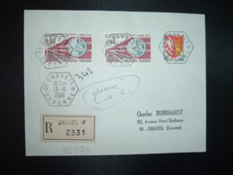 LR TP CONGRES CHEMINS DE FER 0,60 X2 + AGEN 0,12 OBL. HEXAGONALE 13-6 1966 91 DRAVEIL B ESSONNE (ANNEXE) - Storia Postale