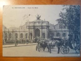 CPA- Bruxelles, Gare Du Midi- Animée, Attelages Chevaux- Circulée, à Oscar B, Mining Company, North China (cachet)- 1909 - Schienenverkehr - Bahnhöfe