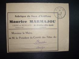 DEVANT BJ PORT PAYE OBL.7-6 1952 PP DAX (40 LANDES) Fabrique De Feux D'Artifices Maurice MARMAJOU - Poststempel (Briefe)